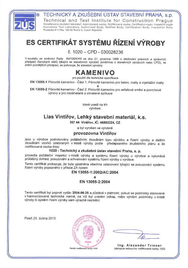 Certifikát Liapor1