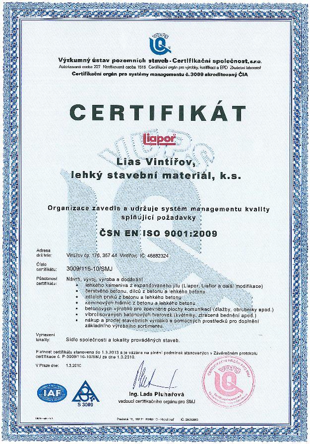 Certifikát Liapor2