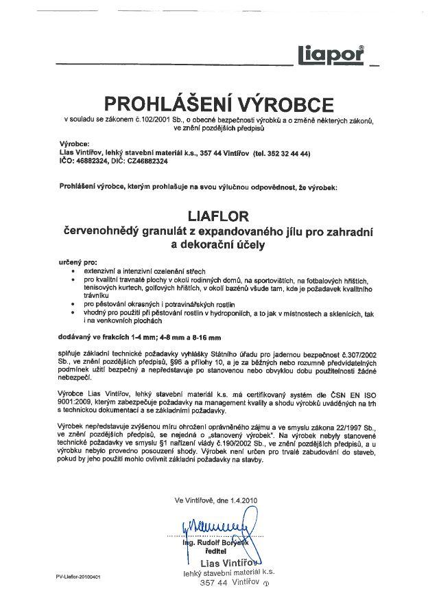 Prohlášení výrobce LIAFLOR