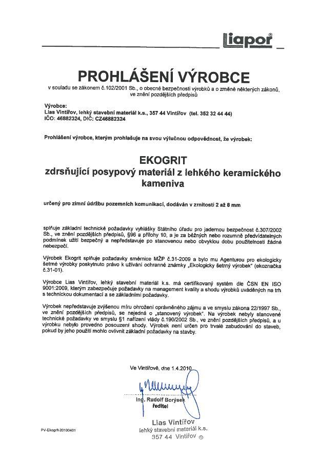 Prohlášení výrobce EKOGRIT